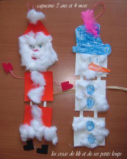 Atelier bonhomme de neige et pere noel de capucine