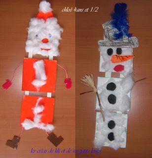 Atelier bonhomme de neige et pere-noel de chez isa