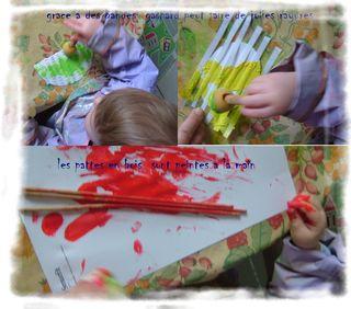 Gaspard peind le poussin et le coq et les pattes