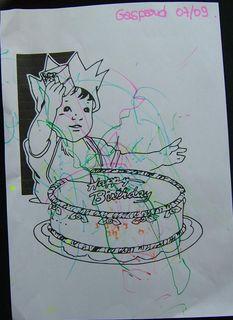 L'anniversaire  colorie par gaspard