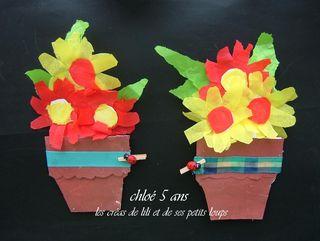 Carte pot de fleurs pour fête des grands meres par chloé