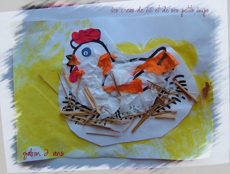 La poule couve de jules