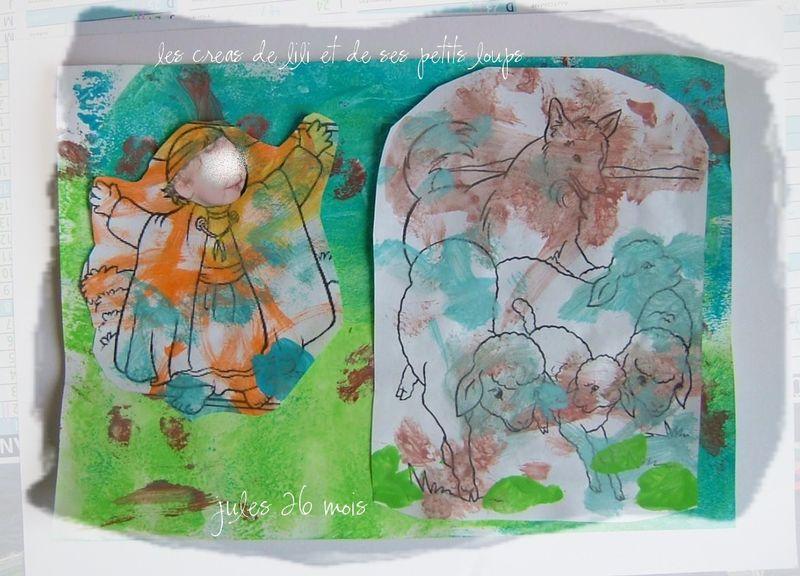 Copie de le petit berger gabin ,son chien et les moutons
