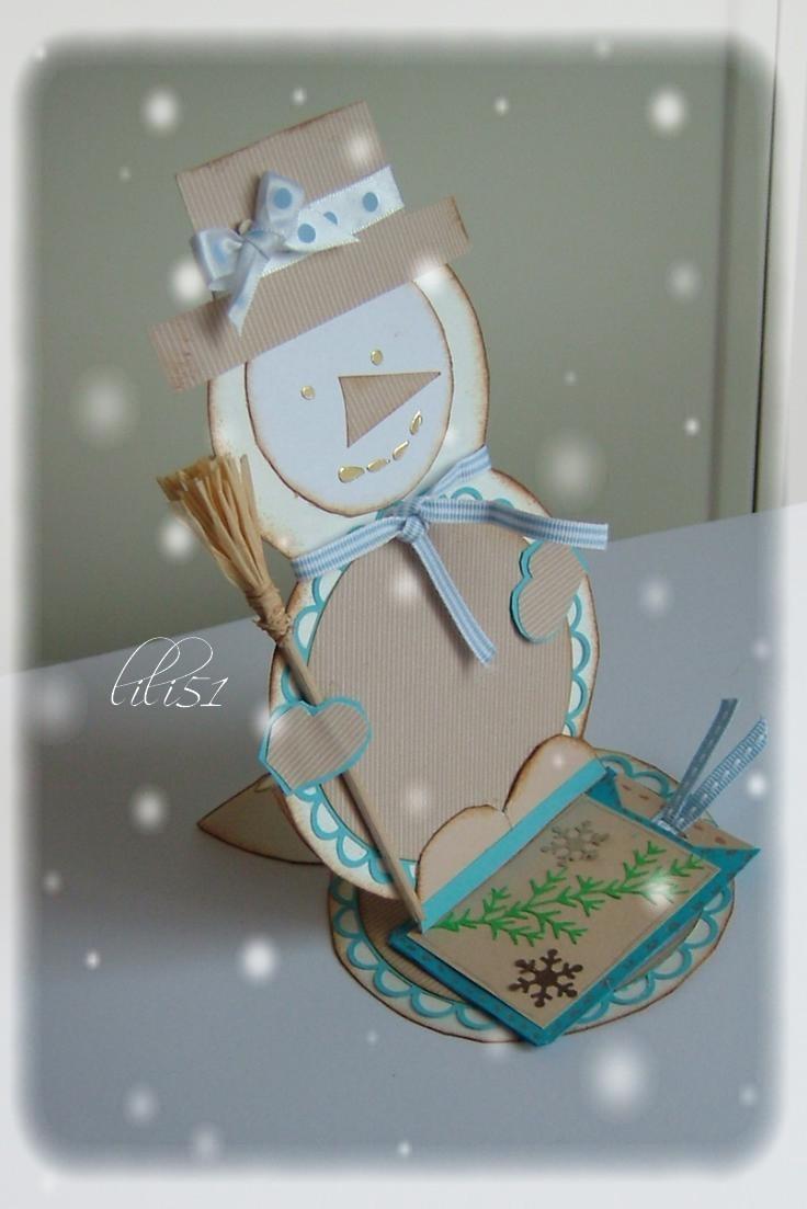 Carte de coté  bonhomme neige defi janvet fevr 2012