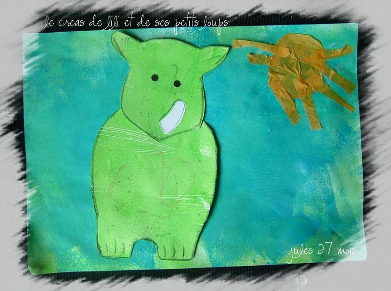 Rhinoceros dans l'eau de jules