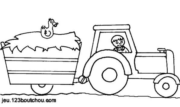 Dessin simple tracteur - Coloriage tracteur avec remorque ...