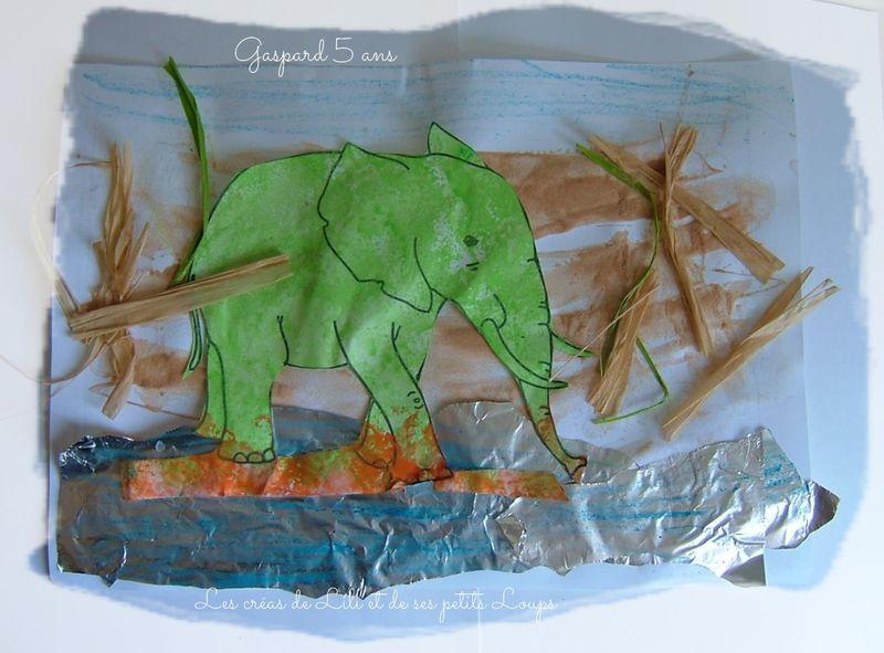 Tableau elephant au bord de l'eau gaspard