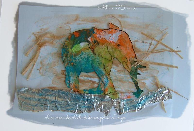 Tableau elephant au bord de l'eau alban