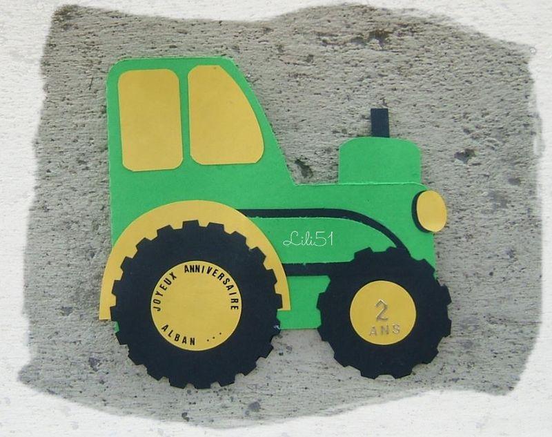 Carte tracteur anniv alban