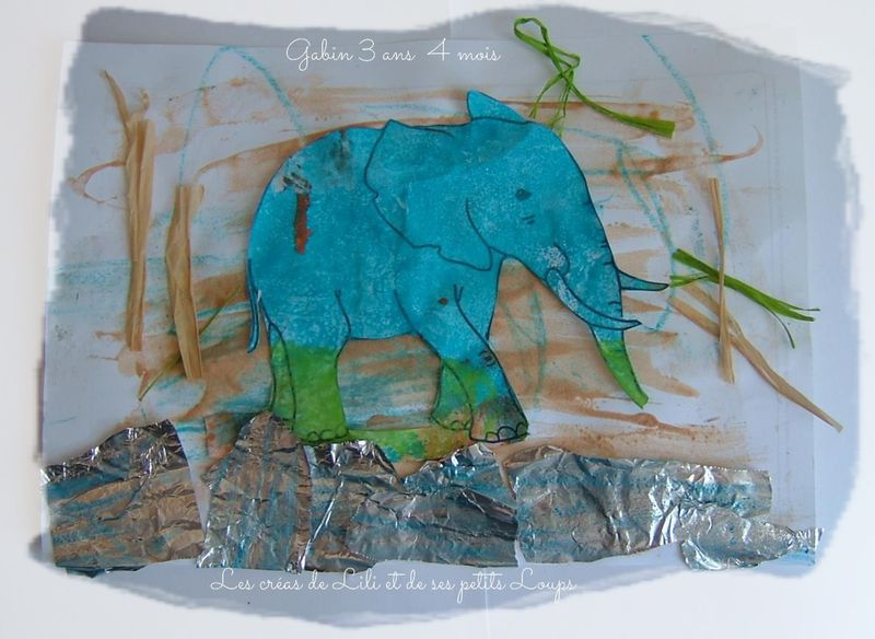 Tableau elephant au bord de l'eau gabin