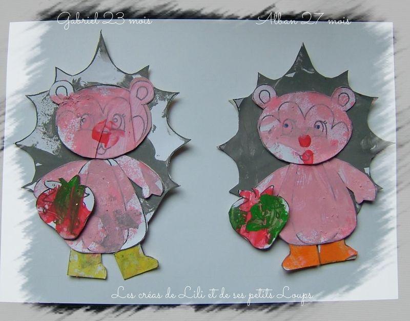 Nos petits herissons et leur fraise