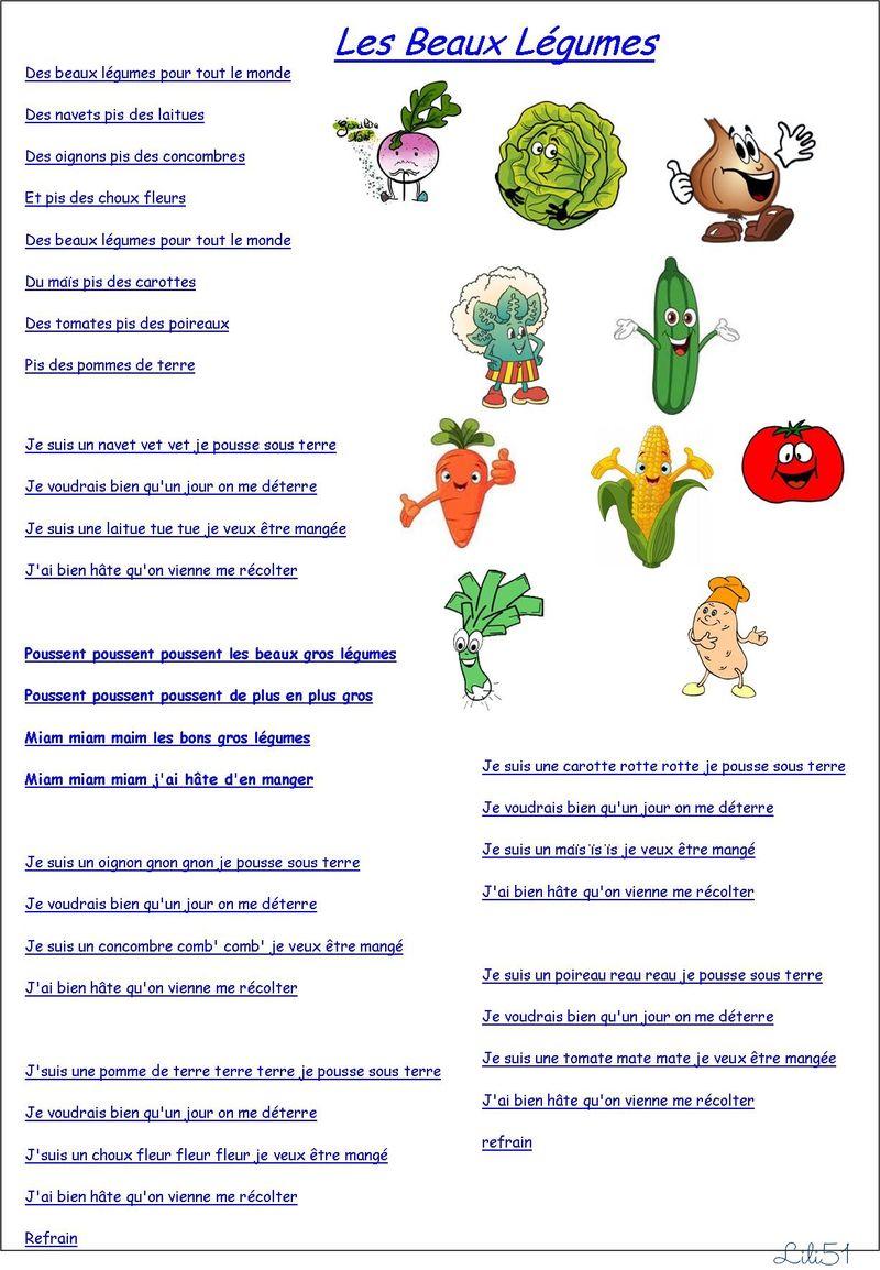Chanson les beaux legumes