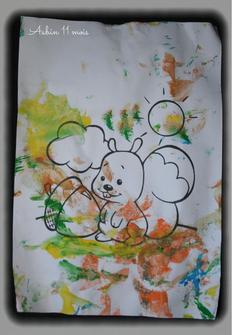 Coloriage ecureuil  peinture  gabrielle