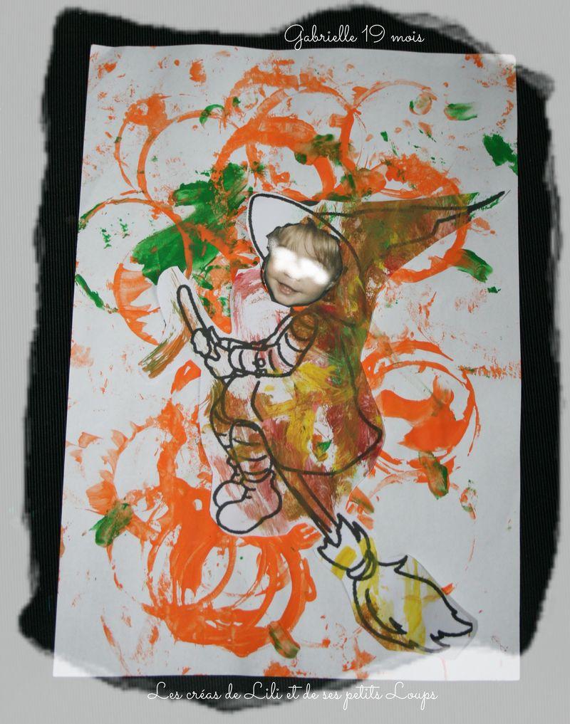 La sorciere gabrielle  vole au dessus d'un champs de citrouille