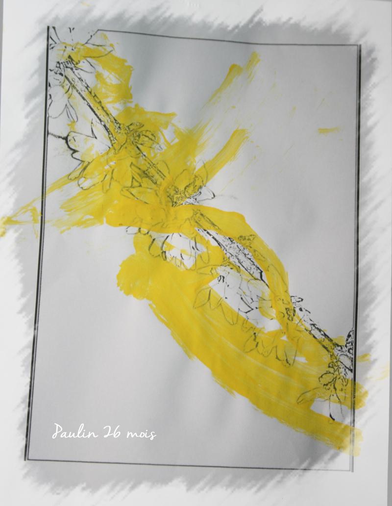 Branche de forshithia paulin peinte