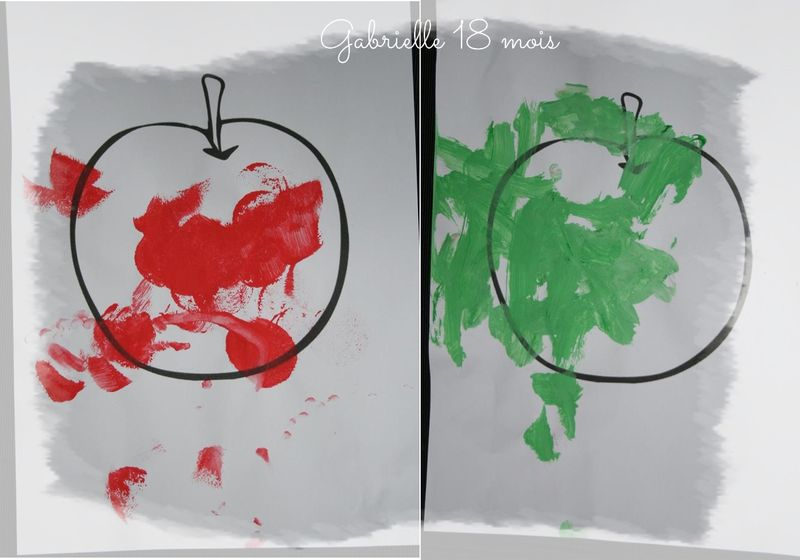 Pomme  verte pomme rouge peinture